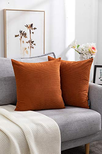Corduroy Cushion Covers Orange 18×18Inch Stripted Square Decorative Throw Pillow Case for Sofa Bedroom Car Living Room Outdoor 2 Pack, 45X45CM(Orange)