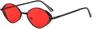 QWKLNRA - Gafas De Sol para Hombre Marco Negro Lente Roja Vintage Oval Metal Mujer Gafas De Sol Moda Gradiente contra-UV Gafas Modernas Clásicas Hombres Tonos De Tendencia Gafas De Sol Uv400