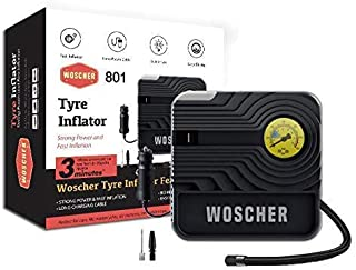 Woscher 801 Rapid Performance Car Air Pump Portable Tyre Inflator (12V) with LED Light