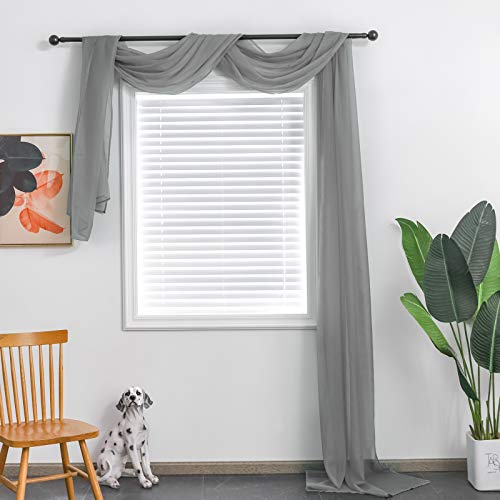 TOAVA DECO Grey Sheer Window Scarf Valance for Windows Gray Sheer Scarf Curtains 216 Inches Long for Living Room Bedroom Curtain Drapes Wedding Party Canopy Bed 52×216