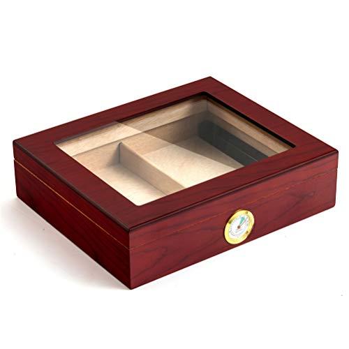 N \\ A Zedernholz-Zigarren-Humidor, große Aufbewahrungsbox aus Zedernholz mit Hygrometer und Luftbefeuchter, Zigarrenetui mit Zedernfutter für 25-35 Zigarren