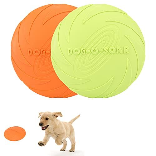 Hundefrisbee, 2 Stück Frisbee Hund Spielzeug, 18cm Hunde Frisbee aus Natürlichem Kautschuk, Interaktives hundespielzeug für Mittlere und große Hunde (Grün + Orange)