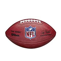 """NFL OFFICIAL: """"The Duke"""" NFL Football is the official ball of the NFL, featuring the world famous Blue, Red, and Silver shield SINCE 1941: Wilson and the NFL have the longest official ball partnership in sports, on-field together since 1941 HANDCRAFT..."""