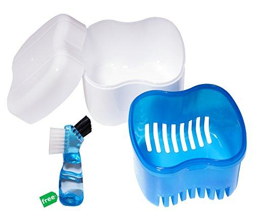 Denture Case,Denture Brush Retainer Case,Denture Cups Bath,Dentures Container with Basket Denture Holder for Travel,Retainer Cleaning Case (Blue)