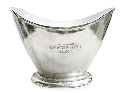Exner klassischer eleganter Champagnerkühler Sektkühler Flaschenkühler oval mit gewölbtem Rand Aluminium poliert
