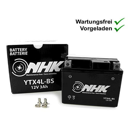 Wartungsfreie Batterie 3Ah kompatibel mit Forstinger Vendetta 50 2T, Classic 50 (YTX4L-BS)