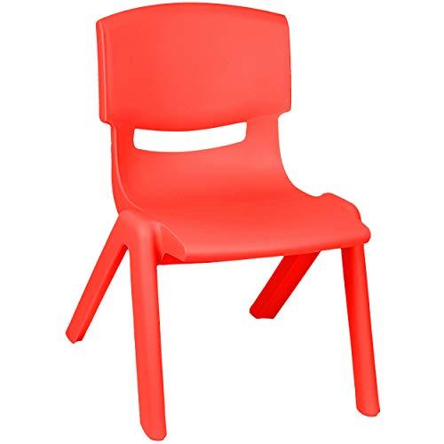 alles-meine.de GmbH Kinderstuhl / Stuhl - Farbwahl - rot - Plastik - bis 100 kg belastbar / kippsicher - für INNEN & AUßEN - 0 - 99 Jahre - stapelbar - Garten - Kindermöbel für M..