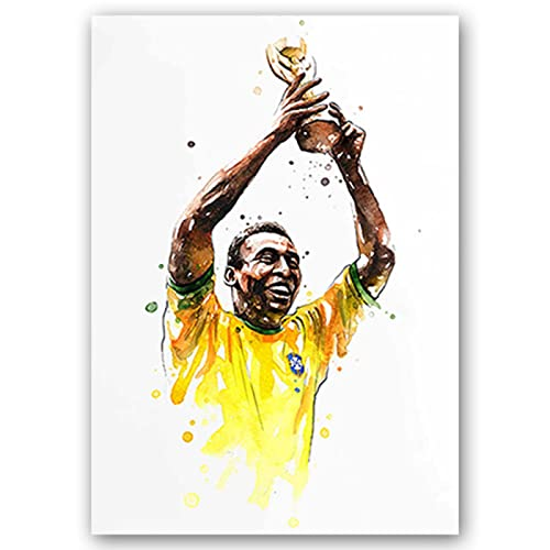 BJEWJUJTYJ carteles e impresiones de estrellas de fútbol figuras lienzo pintura acuarela arte de pared para sala de estar decoración del hogar 30 * 45 cm 15