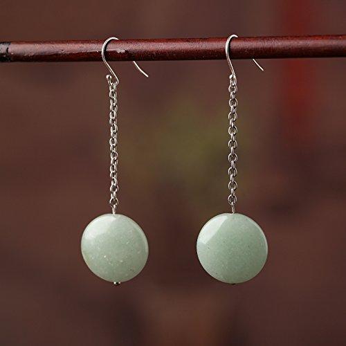 BAGEHAN lange Ohrringe runde Ohrringe Ohrringe Atmosphäre Temperament Folk Style weiblichen Aventurin Silber 925 925 weißer Schimmel Haken