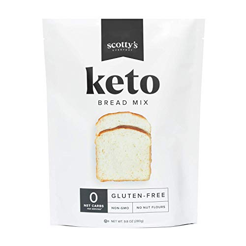 Keto Bread Zero Carb Mix - Keto and Gluten Free Bread Baking Mix - 0g Net Carbs Per Serving - Easy to Bake - No Nut Flours - Makes 1 Loaf (9.8oz Mix) - Sugar Free, Non-GMO, Kosher Bread