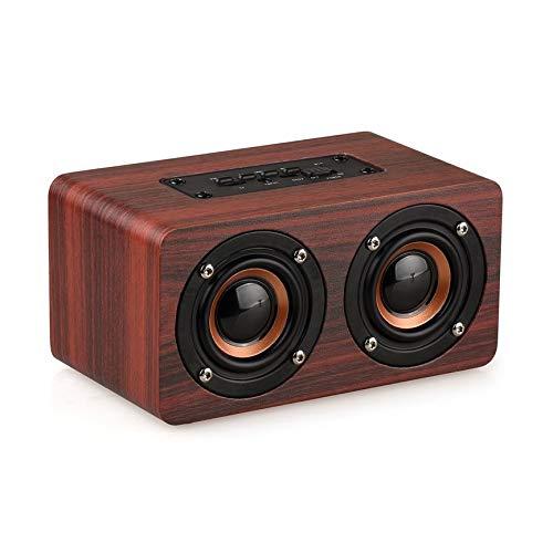 Peanutaoc W5 - Altavoz inalámbrico para el hogar, audio HiFi Home Theatre Mini grano de madera, entrada AUX HD estéreo