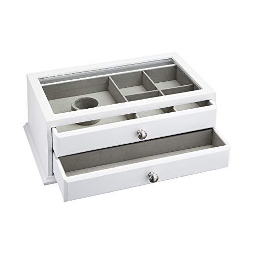 Amazon Basics - Schmuckkasten für Uhren, Ringe, Halsketten aus Holz, mit Glasoberseite, 2 Schubladen, weiß