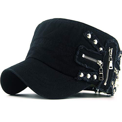 REDSHARKS Women Soft Washed Cotton Zip Cadet Army Cap Adjustable Military Hat Flat Top Baseball Sun Cap Zipper Stud Black