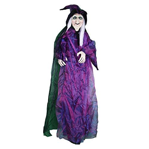"""Waylike 75"""" Halloween Hanging Talking Witches, Animated Glowing Eyes Life Size Haunted House Decorations"""