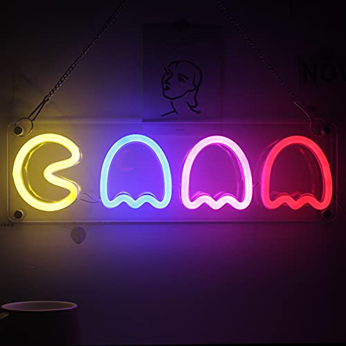 Pac-Man Neon Lamp. A unique addition to an 80s party. Or ideal as a gift. With USB connector.