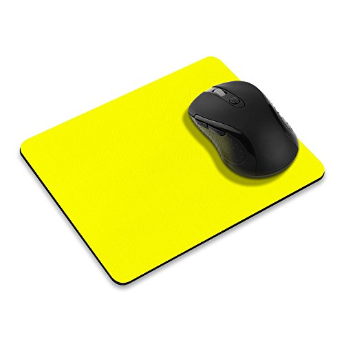 Non-Slip Rectangle Mousepad, FINCIBO Solid Bright Yellow Mouse Pad for Home, Office and Gaming Desk
