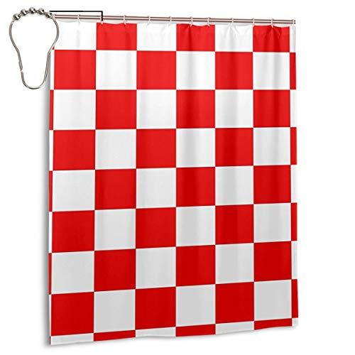 Kroatien Flagge Duschvorhang Polyestergewebe Maschinenwaschbar mit 12 Haken 60 x 72 Zoll