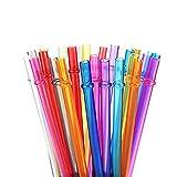 LANGING Lot de 30 pailles réutilisables en Plastique Rigide avec Brosse de Nettoyage Couleurs Arc-en-Ciel (5-6 couleurs)