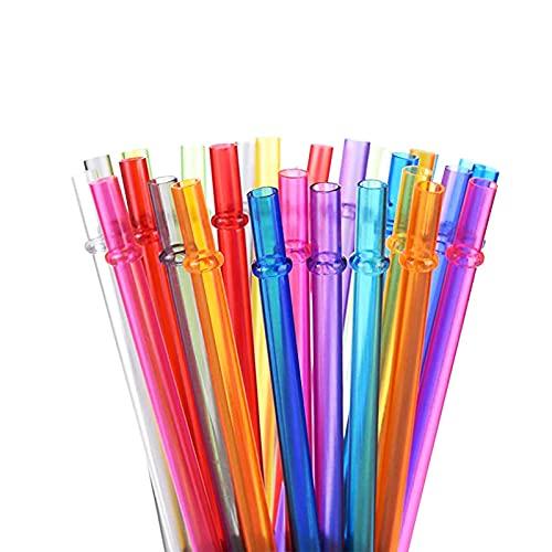 LANGING 30 pajitas reutilizables de plástico duro en colores arcoíris, pajita con cepillo de limpieza, color aleatorio para fiestas