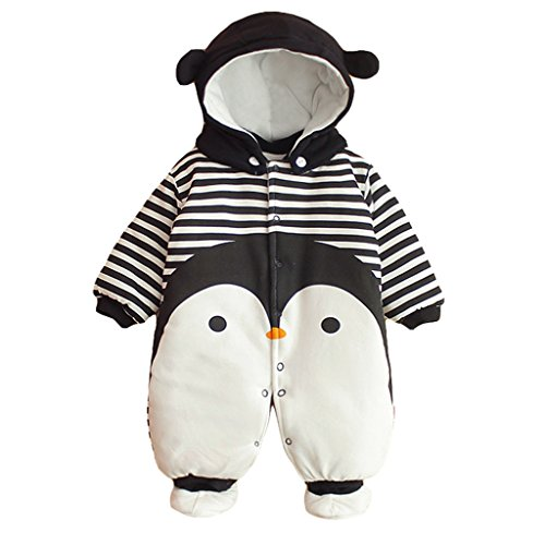 Baby Overall Strampler Winterjacke Onesie Unisex Cartoon Baby Strampelanzug mit Kapuze 3 Monate Vine