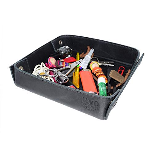 Hide & Drink, Leather Catchall Change Keys Coins Jewels Box Tray Big Storage, Handmade Includes 101 Year Warranty :: Charcoal Black