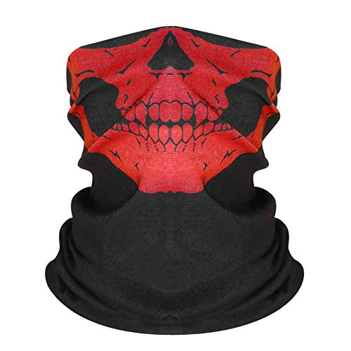 DLKondls Skull Face Mask Half Dust Wind Sun Protection for Outdoor Running Rave Festival Motorcycle Riding Biker Fishing Hunting 3D Tube Face Mask Multifunctional Seamless Bandana Headwear Red
