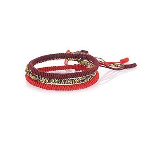 Diamond Knot Braided Bracelet - GOODCHANCEUK 3Pcs Adjustable Tibetan Woven Bracelet Friendship Hand-woven Transfer Bracelet For Men And Women Red+Deep Red+colorful