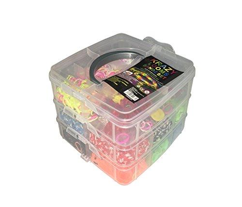 Krazy Looms - 3000 Bandas Box Set Pulseras Kit Incluye Gomas y Accesorios Caja de Tres Pisos