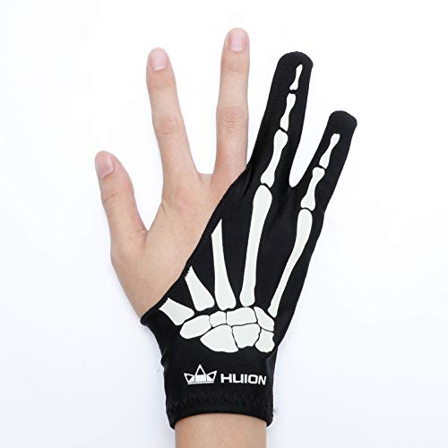 HUION Skeleton Glove for Graphics Drawing Tablets Free Size Two-Finger Artist Glove for Pen Display/LCD Light Box/Pad/Sketch, Good for Right and Left Hand - One Unit, Non-Fluorescent Color