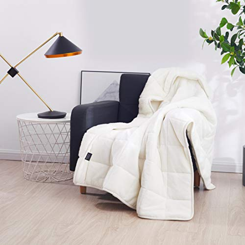 """Sherpa Weighted Throw Blanket for Adults & Kids (White, 7lbs 48x60"""") 