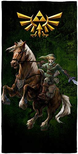 The Legend of Zelda Badetuch Fight 75 x 150cm 100% Baumwolle Velours-Qualität Strandlaken Strandtuch Handtuch Badelaken Saunatuch Link Breath of the Wild Ocarina Hyrule Triforce pass. zur Bettwäsche