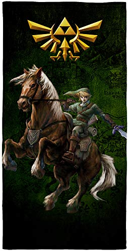 The Legend of Zelda - Toalla de baño (75 x 150 cm, 100% algodón, calidad de terciopelo, toalla de playa, toalla de baño, toalla de sauna, diseño de Ocarina Hyrule Triforce)