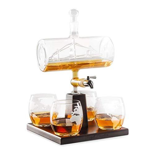 AJMINI Glazen Decanter Set met 4 Whiskey Brillen, Liquor, Wijn, Scotch | Vintage Home, Eten, Bar Decor