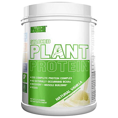 Stacked Plant Protein   Vainilla Natural   Vegano, Sin GMO ni Gluten   Probióticos, BCAAs, Fibra, Cerezo Ácido   Complejo Proteínico Completo a Base de Plantas   680 g