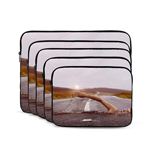 Swimming Print Laptop Sleeve, Shock Resistant Notebook Briefcase, Tablet Carrying Case for MacBook Pro/MacBook Air/Asus/Dell/Lenovo/Hp/Samsung 17 inch