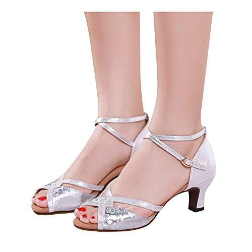 BIBOKAOKE Zapatos de baile para mujer estándar latino, zapatos de baile con...