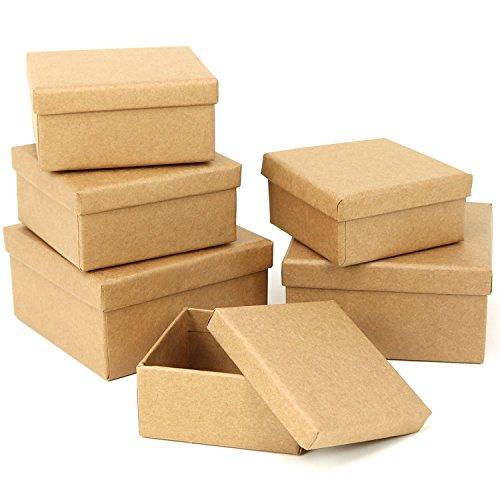 com-four® 6X Geschenkboxen, ineinander stapelbare Papp-Schachteln zum Gestalten und Aufbewahren von Bastel-Materialien
