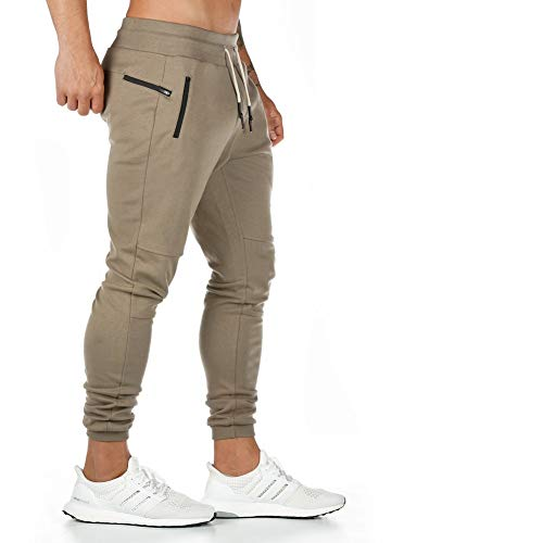 AOTORR Men's Slim Fit Joggers Casual Slim Sweatpants Workout Running Track Pants with Zipper Pockets Khaki L