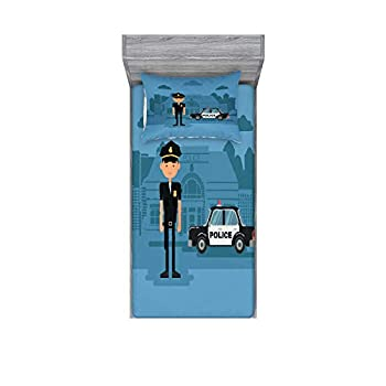 Lunarable Police Fitted Sheet & Pillow Sham Set Cartoon Officer Cop Standing in Front of The Station on Blue Background Decorative Printed 2 Piece Bedding Decor Set Twin Blue
