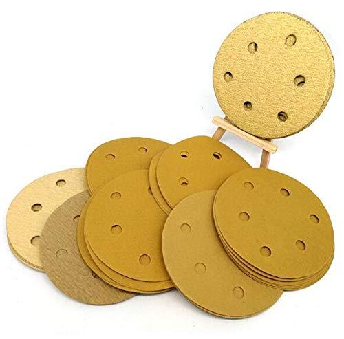 GIPOTIL 20ps 125mm / 5 '' Pulgadas Grano 80-800 Discos de lijar amarillos secos con 6 agujeros Papel de lija de bucle de gancho Hoja de lija de disco de papel de lija redonda, 180