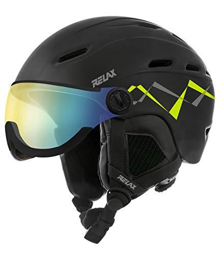 Relax Skihelm Prevail mit Visier   Snowboardhelm   Skihelmet   Race-Helm für Damen und Herren (schwarz/gelb, L (58-60cm))