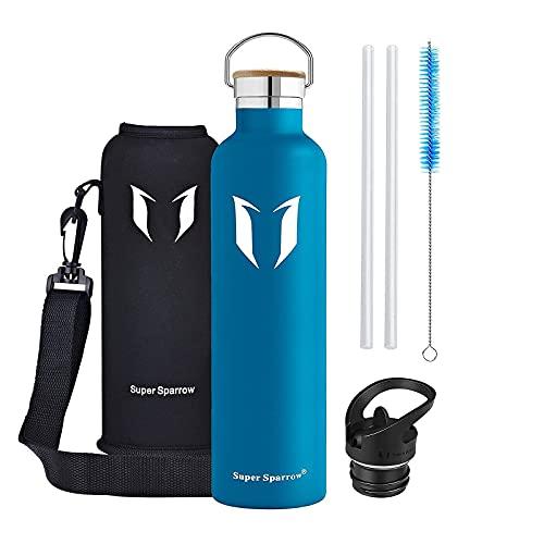 Super Sparrow Trinkflasche - 620ml - Wasserflasche Doppelwandig Vakuum Isoliert Edelstahl - Auslaufsicher Sport Trinkflaschen | Ideale Flasche - BPA-freie - 2 Deckel + Tragetasche (620ml-21oz, Lava)