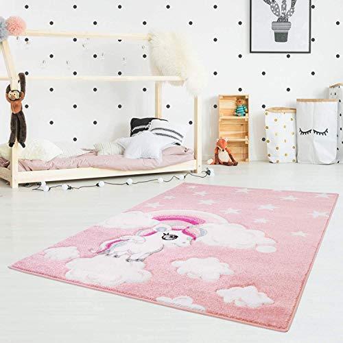carpet city Kinderteppich Flachflor Bueno Konturenschnitt mit Einhorn Sterne Regenbogen in Rosa für Kinderzimmer, Größe: 140x200 cm