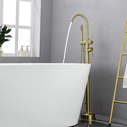 SHAMANDA Freestanding Bathtub Faucet Bath Tub Filler Faucet with Hand Shower Brushed Gold, Floor Mount, FL901-3