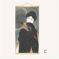 スクロール壁ぶら下げ絵、日本の浮世絵ポスターインテリアデコレーション、ベッドルームのための、リビングルーム,C,60*120cm