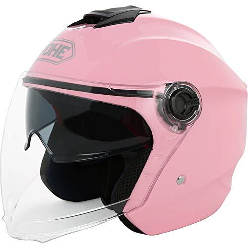 Double Lens Hiver Hommes Et Femmes Chaud Demi Casque Quatre Saisons Personnalité Cool Sun Protection Casque De Moto Électrique (Color : Pink-XL)