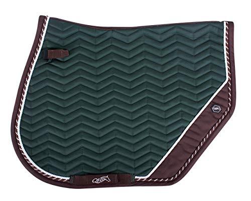QHP Schabracke Shiva Zick-Zack-Steppung hinten abgeschrägt doppelte Zierkordel (Warmblut VS, Dunkelbraun/Grün)