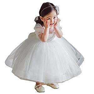 KOCEKID 赤ちゃんドレス フォーマルドレス 洋服 ベビー用ウェディングドレス お宮参りドレス 結婚式 ホワイト フラワーガールドレス ベビー用洋装 チュール パフ袖 ベビーロングドレス 写真撮影 1歳