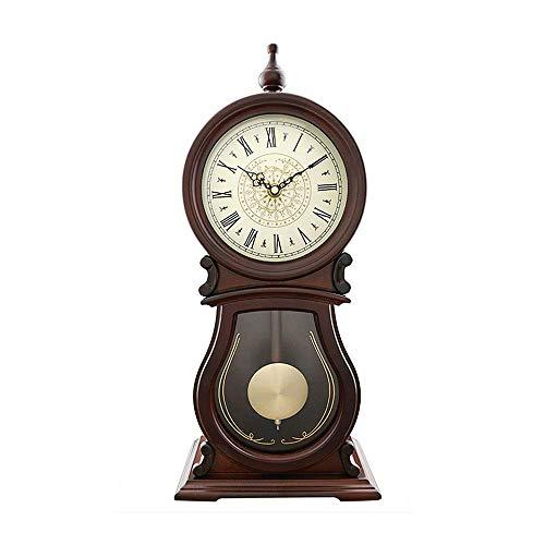 WANNA.ME Reloj de sobremesa de péndulo, Reloj de Mesa de Escritorio Adorno de Madera Relojes Antiguos Antiguos Clásico mecánico Silencioso de pie Escritorio y Estante Relojes de Regalo (49 cm)
