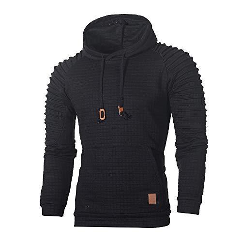 Xmiral Herren Sweatshirt Top Herbst Langarm Plaid Hoodie Mit Kapuze T-Shirt Outwear(L,Schwarz)